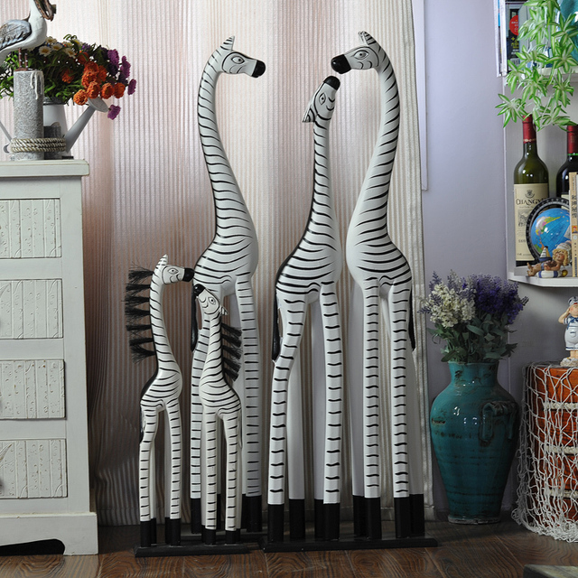 Hand Painted Wooden Creative Home Accessories Wedding Gifts Zebra