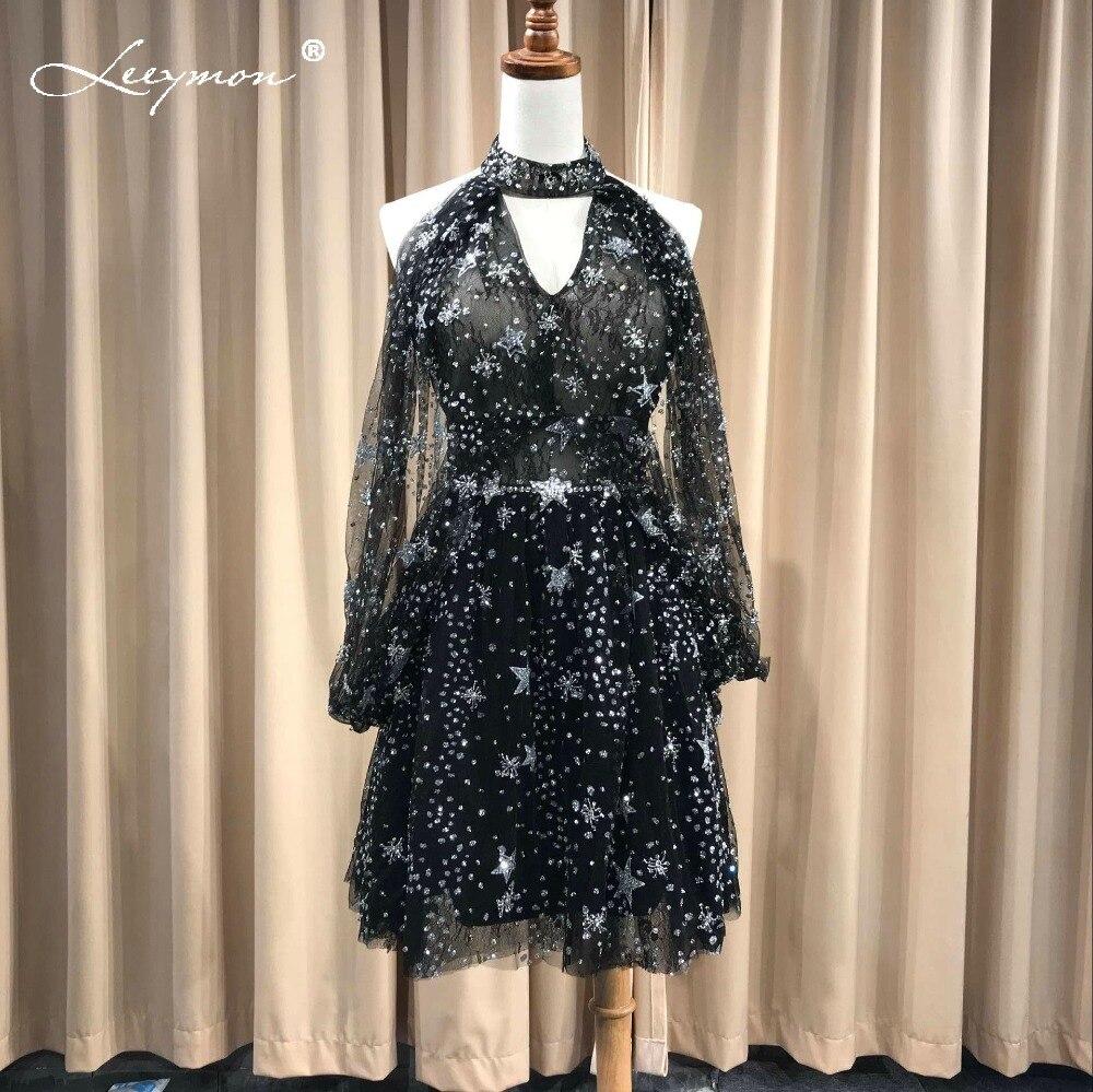 Leeymon 2018 הגעה לניו Custom Made שמלת קוקטייל סקסי מיני קצר שחור לנשף שמלות שמלות אירוע מיוחדות