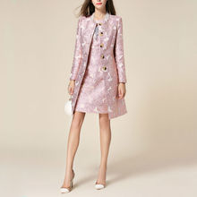 [Limited] Autumn and Winter Luxury Rose Jacquard Embroidery Outerwear Trench Med