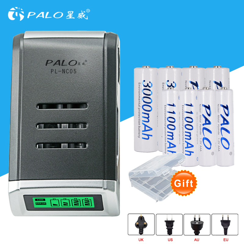 AAA Batteries LCD display battery Charger for AA 4 pcs AA 3000mah Battery