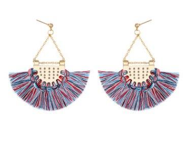 Этнический стиль Модные веерообразные серьги с кисточками в богемном стиле серьги ювелирные изделия - Цвет: Colorful