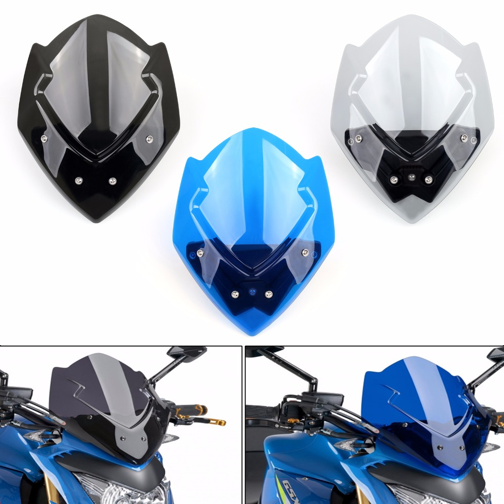 Areyourshop Motorcycle Windshield Windscreen Double Bubble Wind Screen For SUZUKI GSX-S1000 2015-2017 1PCS ABS plastic  Covers areyourshop windshield bag saddle 3 pouch pocket fairing for harley touring bike 1996 2015 black motorcycle covers