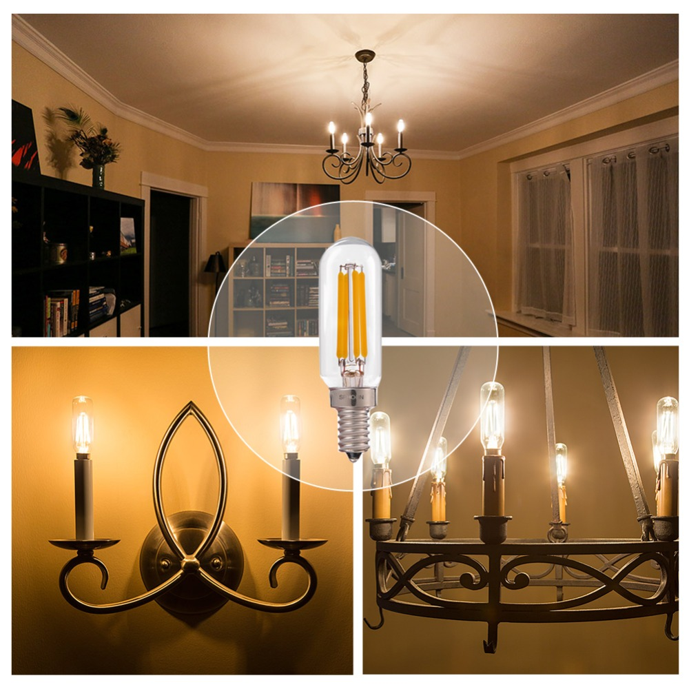 Купить с кэшбэком GANRILAND Dimmable LED Lamp T25 Tubular LED Filament Bulbs 4W Retro Chandelier Pendant Lamp E12 E14 110V 220V Warm White 2700K