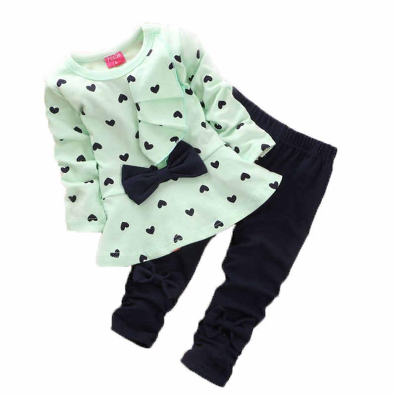 Venta caliente 2018 primavera y otoño nueva moda llegada estilo niños niñas bebé algodón dibujos animados ocio traje Bebé Ropa conjuntos 2 piezas
