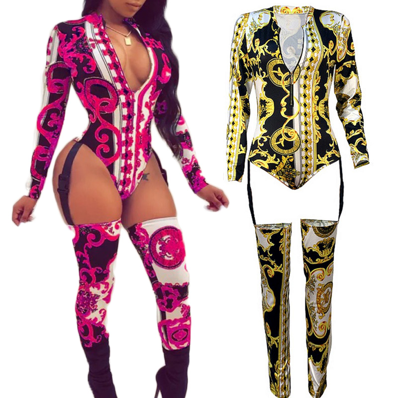 Jazz Dance Costumes Vintage Gold Totem Garter Jumpsuit Nightclub Bar Female Singer DJ Rave Clothes Women Birthday Wear DNV11394