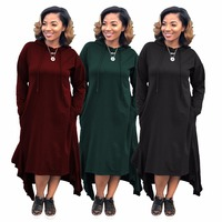 New Sexy women's winter hooded dress casual ruffles red black green color asymmetrical ankle length top quality for women