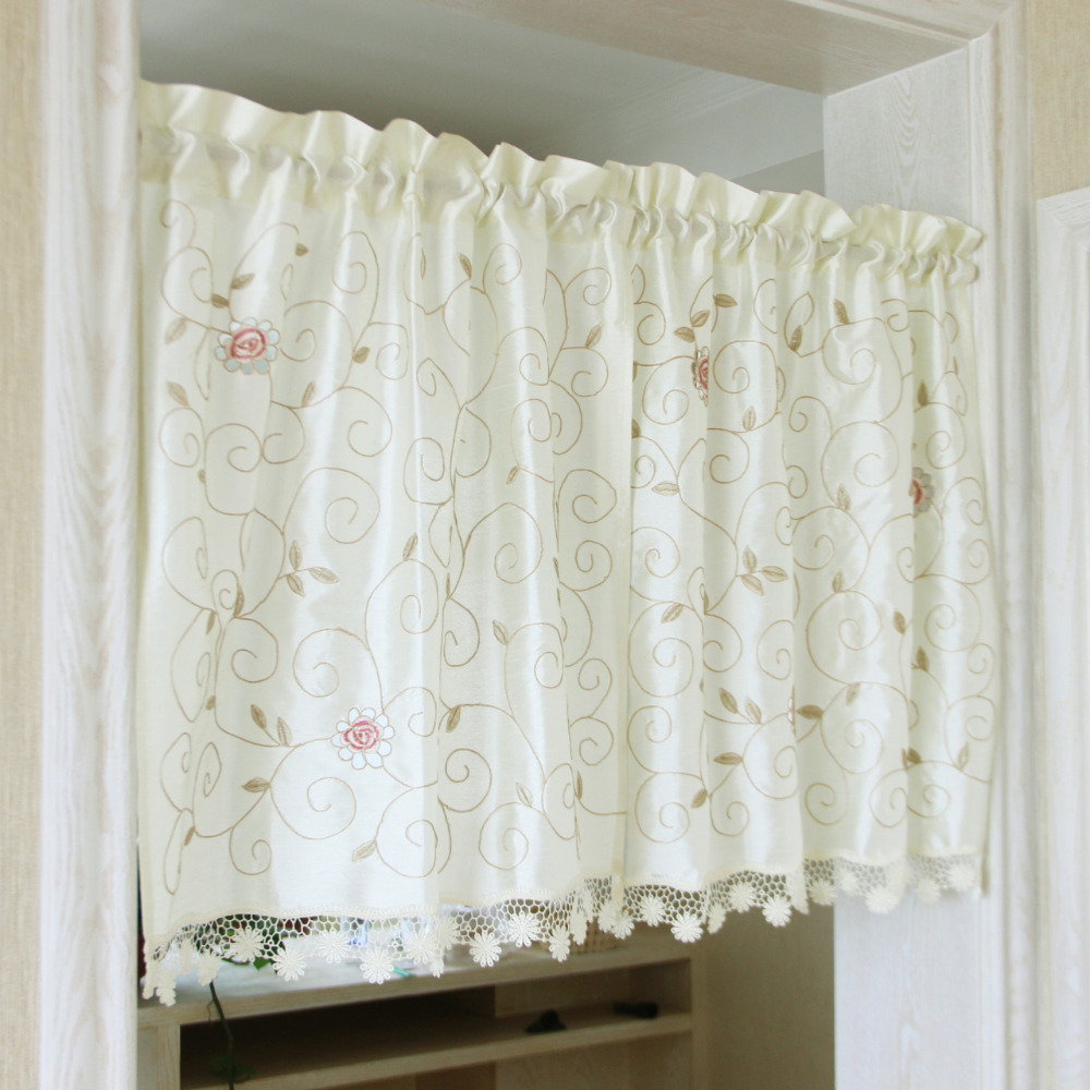 Kitchen Cabinet Curtains: Aliexpress.com : Buy Half Curtain Countryside Flower Branch Embroidery Big Hollow Hem Cotton