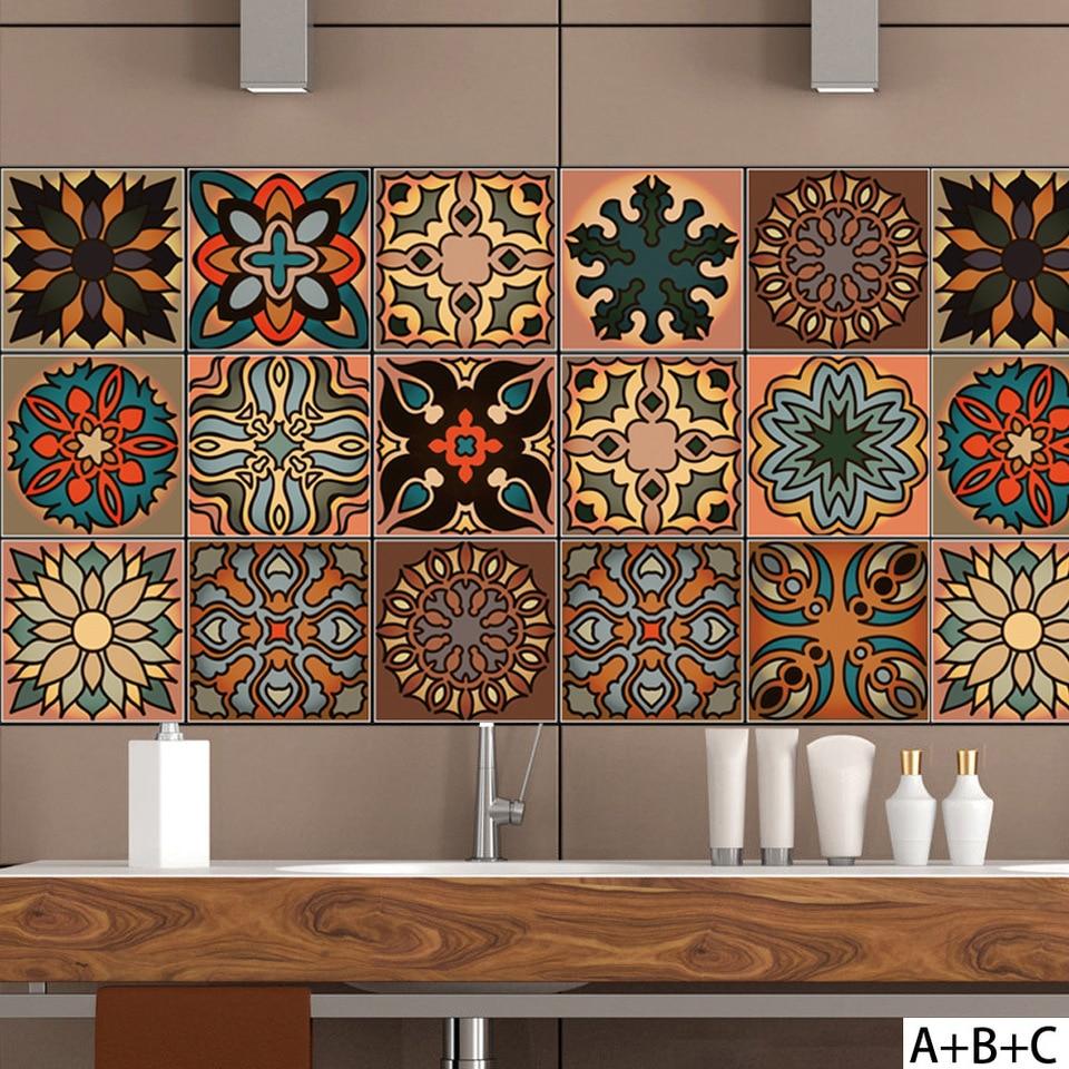 Moroccan color style PVC retro living room bedroom wallpaper wall sticker kitchen oilproof sticker bathroom