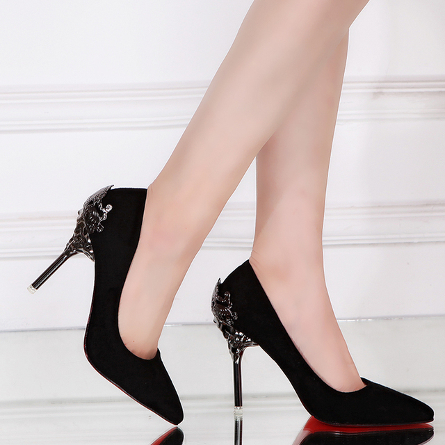 2017 Spring Sexy Stiletto High Heels Shoes Woman Elegant Pointed Toe Thin High Heels  Flock Women's Pumps for Party 10cm Heel