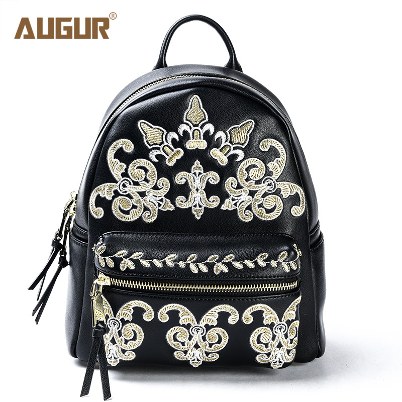AUGUR 2017 New Backpack Fashion Trend Women High Quality Gold Embroidery Genuine Leather Small Mini Backpacks for Teenage Girls augur brand new fashion mens designer backpack leisure waterproof backpack women backpacks for teenage girls ag0012