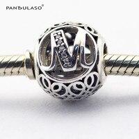 Pandulaso ماركة logo الأبجدية الفضة الخرز ل صنع المجوهرات diy واضح cz خمر إلكتروني m كريستال الخرز لل سحر أساور
