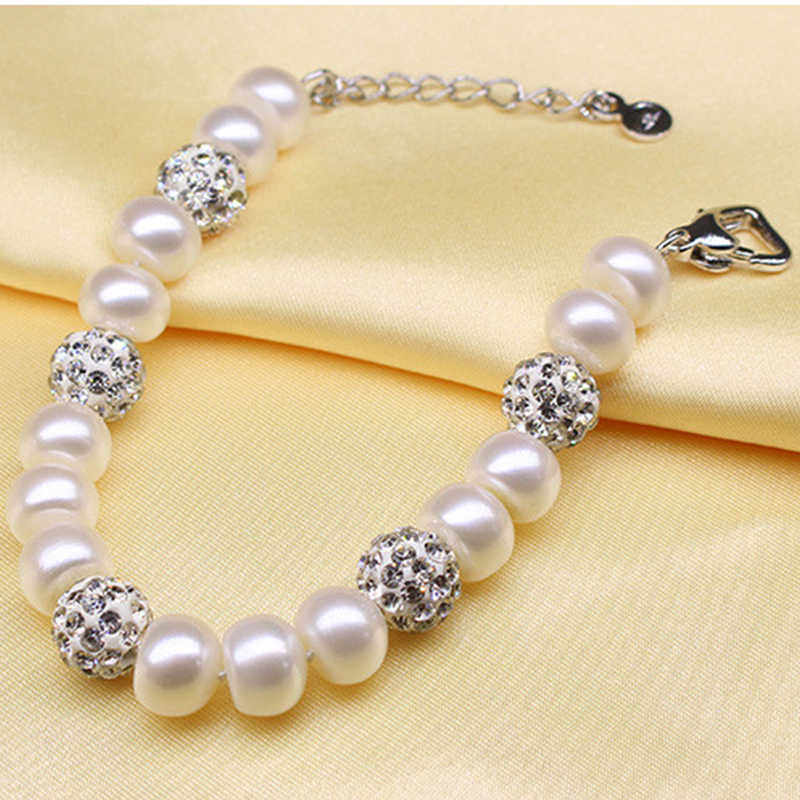 YIKALAISI 925 Sterling Silver Natural Freshwater Pearl Fashion Bracelet Jewelry For Women 8-9mm Pearl 4 Colour Extension chain