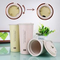 100 Food Grade Double Wall Plastic Wheat Stalk Tea Cup Wheat Straw Coffee Mug With Rotating