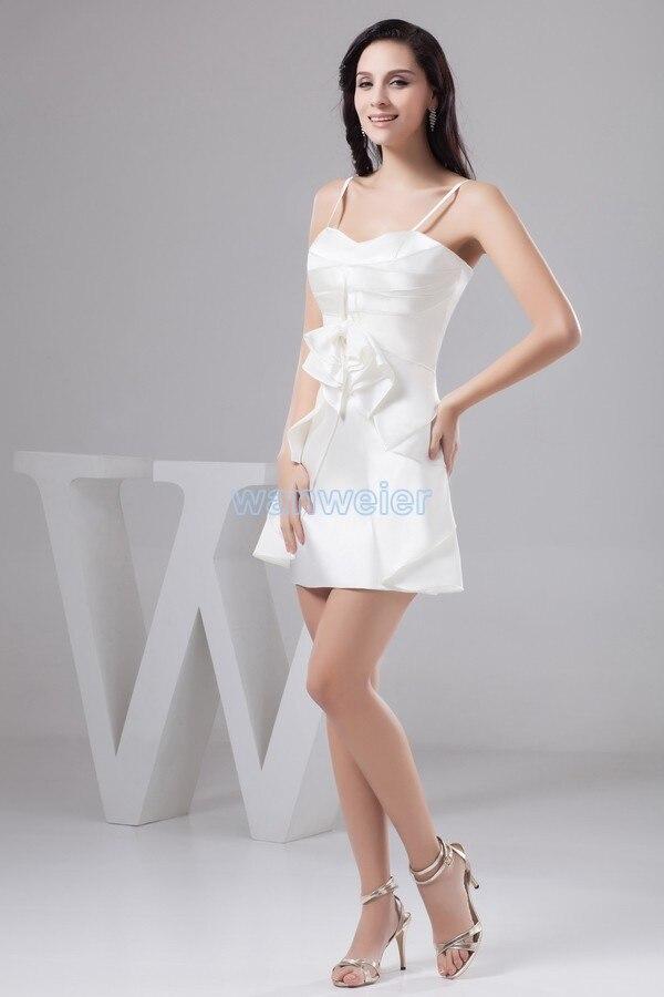 Livraison gratuite 2015 robe formelle vestido noiva grande taille nouveau design pli couleur personnalisée/taille courte mini robe de demoiselle d'honneur blanche - 4