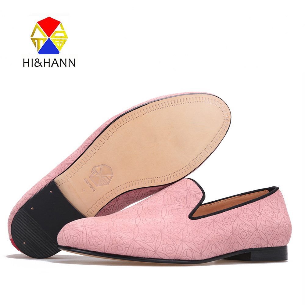 New arrival pink color Handmade men velvet shoes with floral printing luxurious Wedding men loafers Leather sole smoking slipper