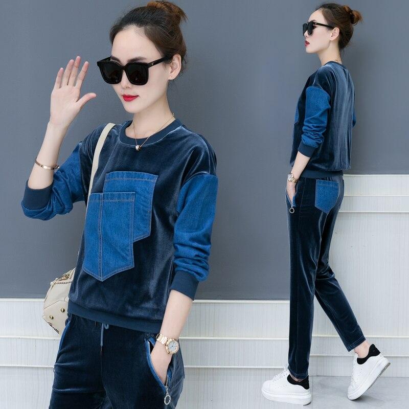Otoño 2018 nuevo diseño ocio traje suelto de dos piezas casual traje coreano moda denim parche terciopelo buena tela sudaderas pantalones XXL