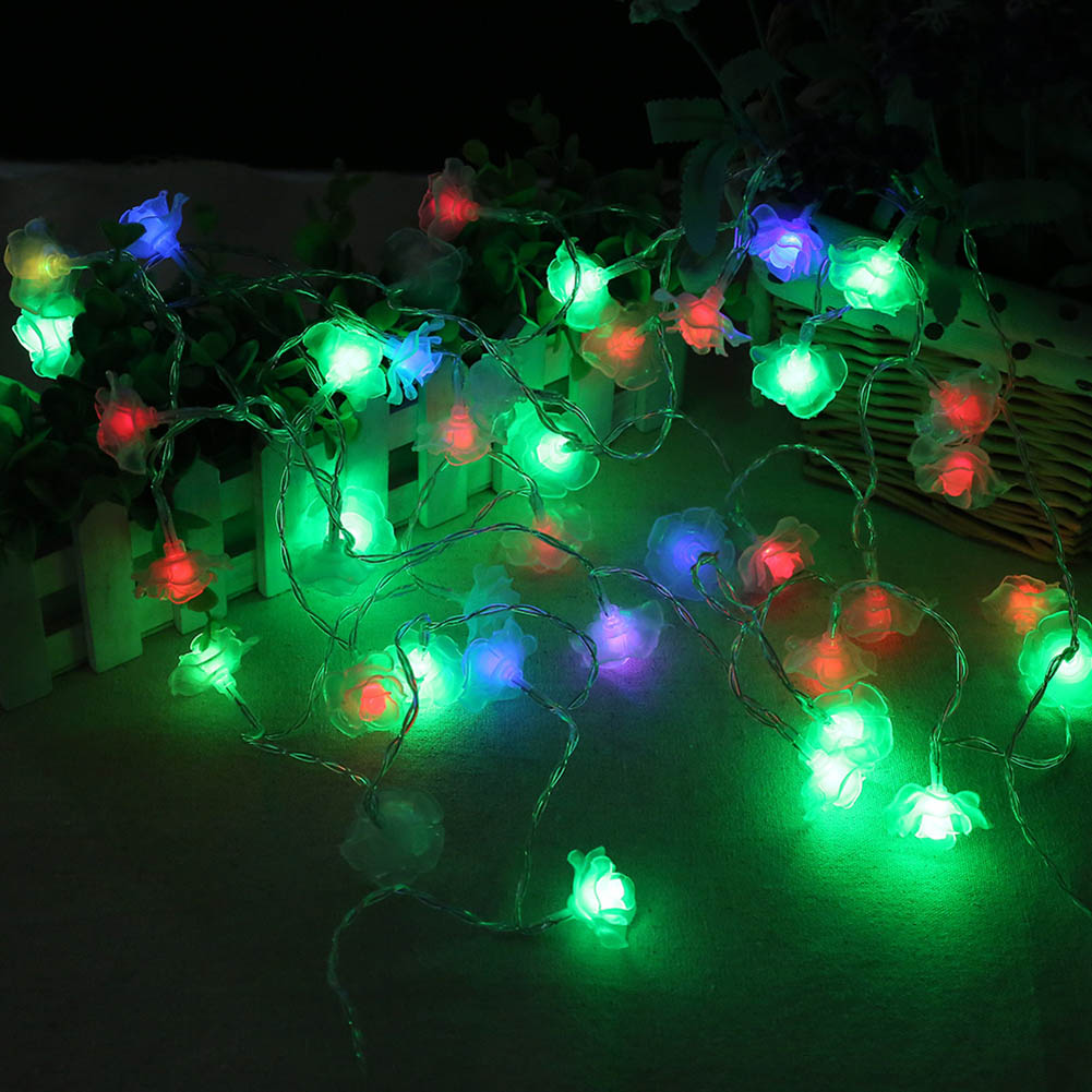 2017 New Holiday Lighting 20LED Rose Flower Fairy Wedding Party Christmas Holiday Decoration String Lights Festival Wire String