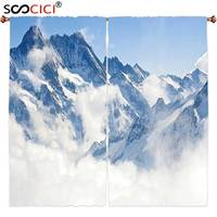 Window Curtains Treatments 2 Panels Nature Alps Mountain with Snow Covered Peaks Top of Europe Switzerland Misty Hill Light