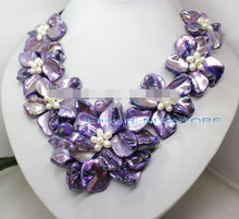 "LL <<< 0658 witte parel paars parelmoer schelp weven bloem ketting 18 ""fashion jewel(China)"