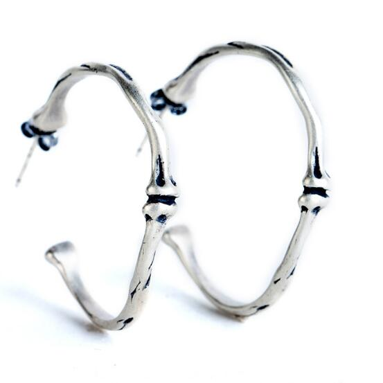 Personality 100% Pure 925 Sterling Silver Circle Round Hoop Earrings For Women Men Halloween Party Skull Jewelry pair of delicate rivet round hoop earrings for men