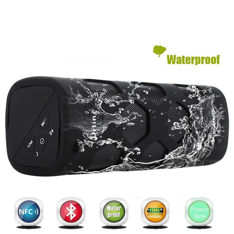 10W Portable IPX65 Waterproof Column Wireless Bluetooth Speaker With 4000Mah Power Bank Handfree NFC Sport Sound Box Loudspeaker