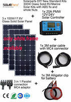 Solarparts 3x100W Monocrystalline Solar Module Sunpower LED Light Outdoor Solar Panel Cell System DIY Kits RV