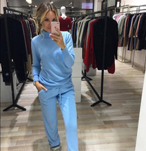2017 Tracksuit Winter Cashmere Two Piece Set Female High necked Sweater Pants 2 Piece Set Women