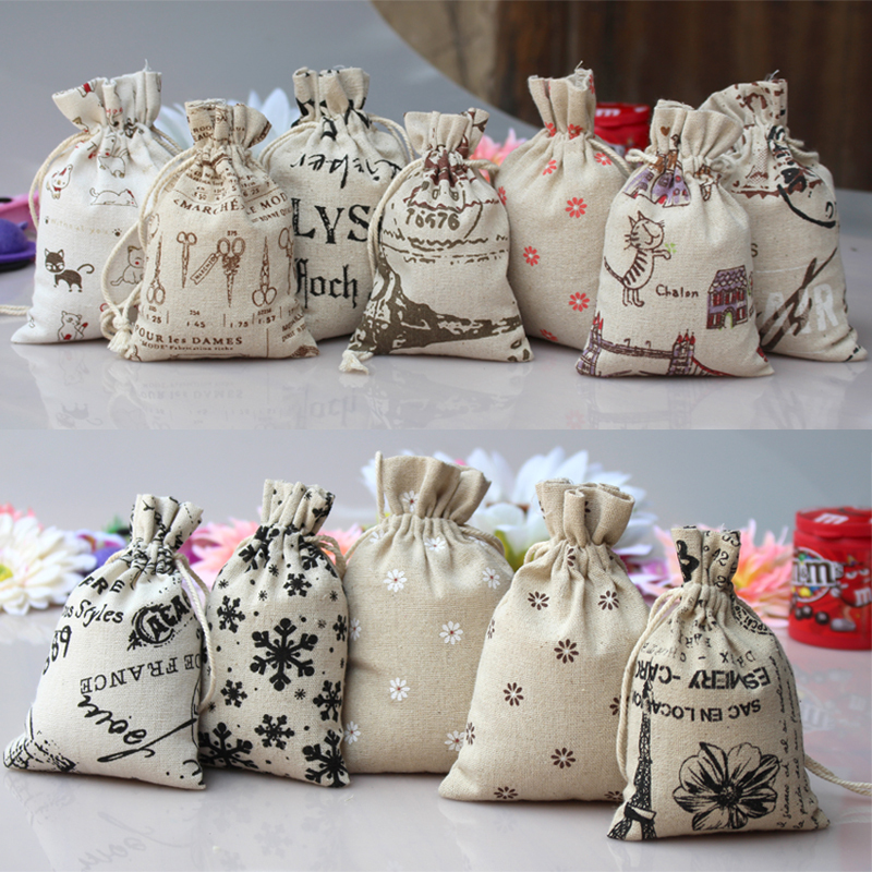 Aliexpress.com : Buy Random colors 15X20cm jute drawstring bag ...