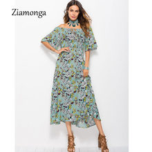 Ziamonga Women Summer Long Beach Dress Boho Ladies New Style Fashion Floral Print Short Sleeve Maxi Dress Elegant Party Dresses(China)