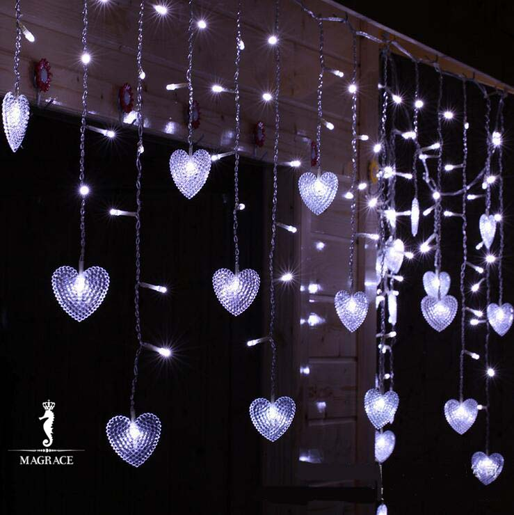 3.5M Heart Love Multicolors LED Fairy String Light Valentines day Holiday Wedding Garland Curtain Light 110V/220V EU/US Plug