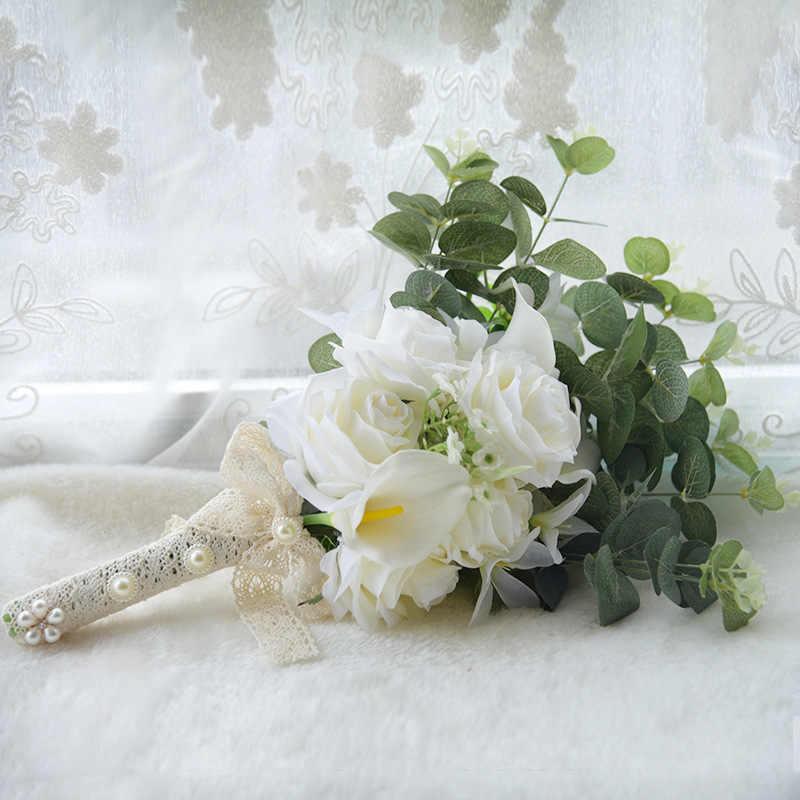 2019 BoHo Bridal Pernikahan Bunga Mini Bride Bridesmaid Nyata Dapat Disentuh Putih Bunga Calla Lily Bridal Pernikahan Bouquet