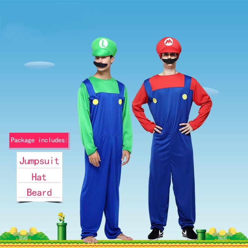 Halloween Costumes Super Mario Luigi Brothers Adult Cosplay Costume Unisex Jumpsuit