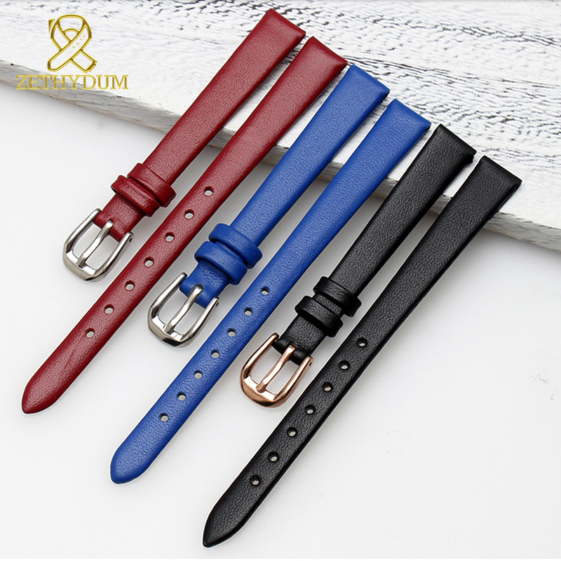 Genuine leather watch bracelet womens fashion watchband wristwatches mini band 6 7 8 10 12mm blue red color small strap in Watchbands from Watches
