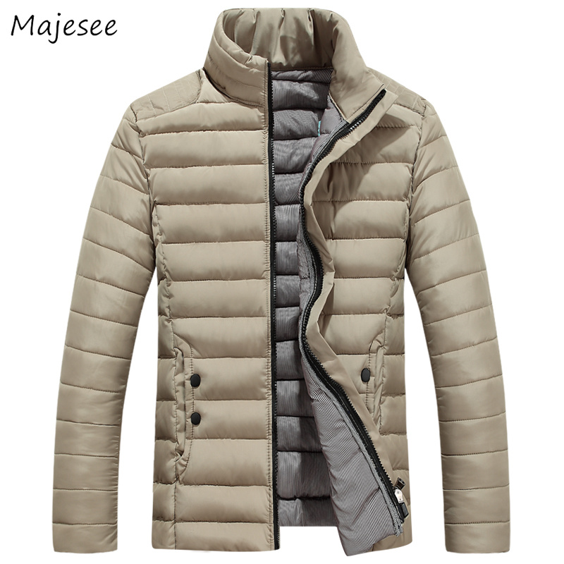 Parkas   Men Thicker Stand Collar Zipper Slim Solid Simple All-match Pockets Leisure Mens Winter Large Size Trendy Korean   Parka