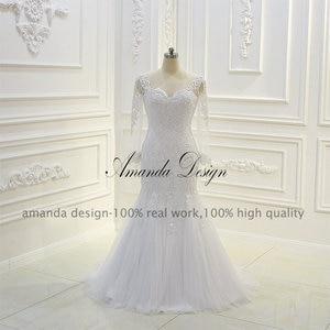 Image 2 - Amanda ออกแบบ robe de mariee แขนยาว Beading ที่ถอดออกได้กระโปรงชุด