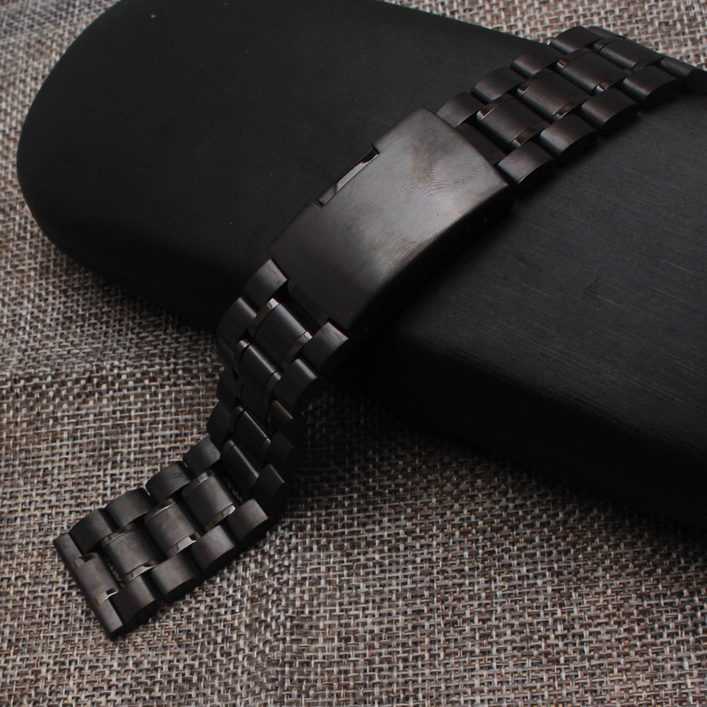 Watchband Black 18MM 20MM 22MM 24MM Stainless steel metal Watch strap bracelet one side button straight end wrist band accessory new watch band 14mm 16mm 18mm 20mm 22mm 24mm 26mm black stainless steel watch band strap straight end bracelet