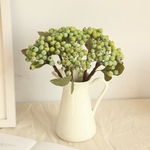 10pcs/lot Berry Fruit Artificial Flower Fake green berries Christmas berry For New Year Decora