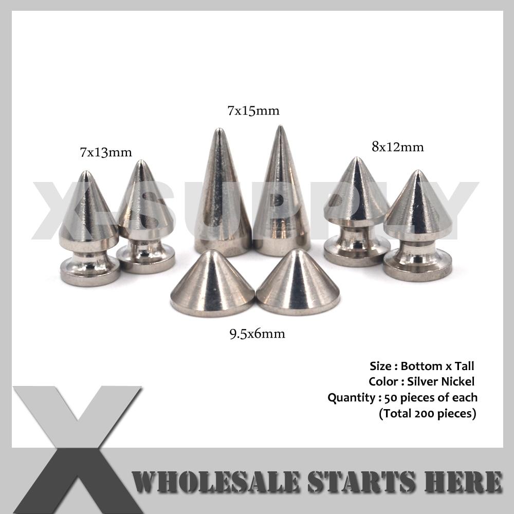 10pcs 10x29mm Cone Spikes Studs Punk Rivet for Bag Belt Shoes Clothes Decor
