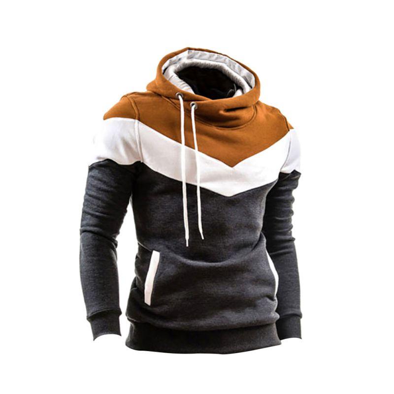 Men Coat New Tracksuit Men Top Patchwork Long Sleeves Belt O-Neck Warm Hoodie Pullover Slim Outwear Hoddies
