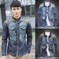 Горячая распродажа корейский стиль свободного покроя джинсы , майки, Мода новые печатные 60% хлопок мужские рубашки двойной карман ковбойская рубашка