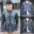 Caliente venta del estilo coreano pantalones casuales camisas para hombre, la moda de nueva impresión 60% algodón camisa para hombre del bolsillo del doble camisa de vaquero