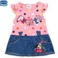 Novatx h2338 vestido da menina nova do bebê verão roupa das crianças dos miúdos vestido de cowboy vestido de manga curta venda barato vestidos roupas das meninas