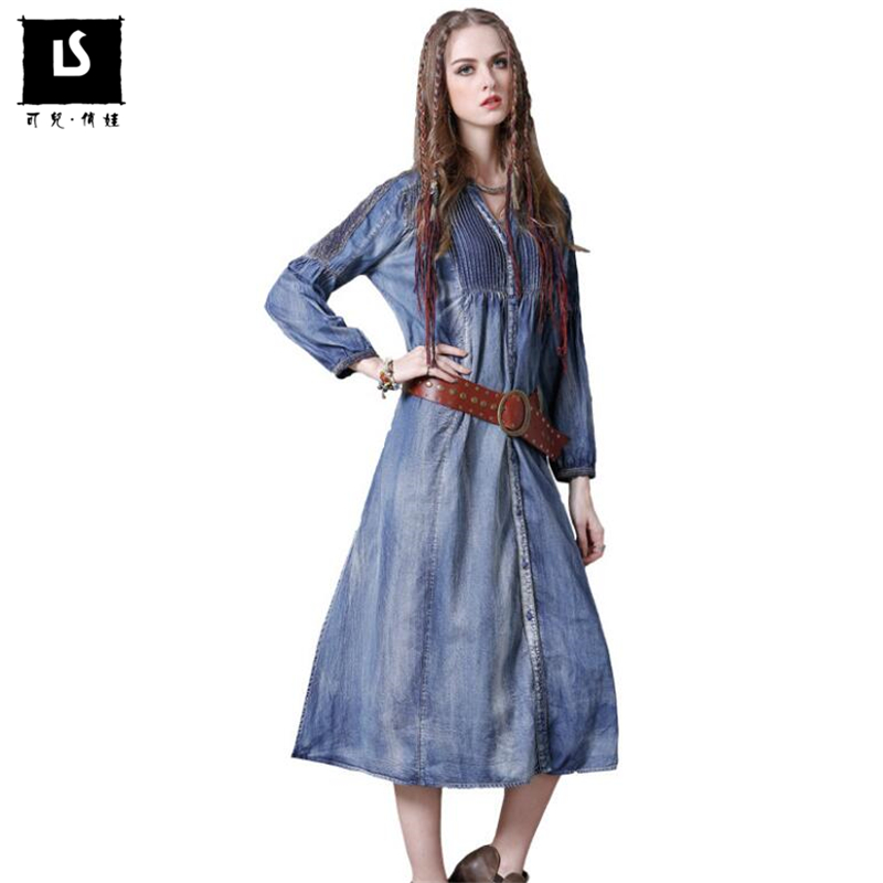 Hot Sales Spring Autumn Women Vintage Denim Dress Fashion Long Sleeve Casual Loose Leisure Sexy V
