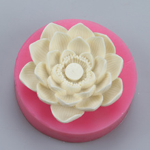 Lotus flower 3D Candle mold silicone fondant cake mold form Clay mold Salt carving mould