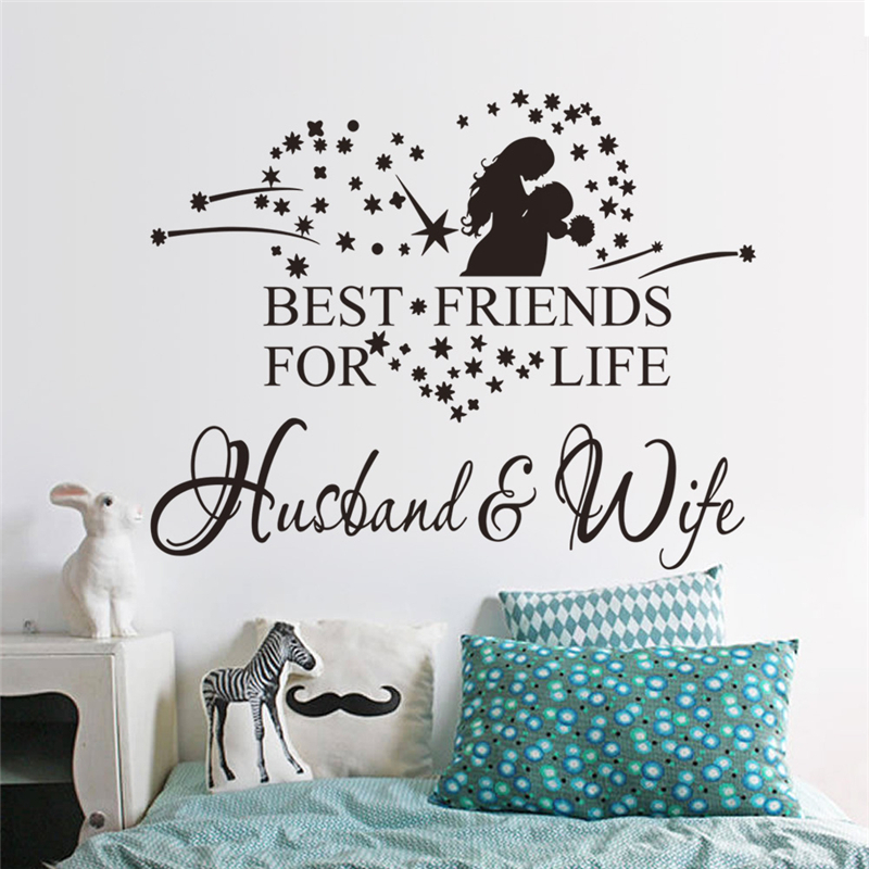 Home Decoration And Furnishing Articles Couple Characters: Best Friends For Life Husband And Wife Quotes Wall