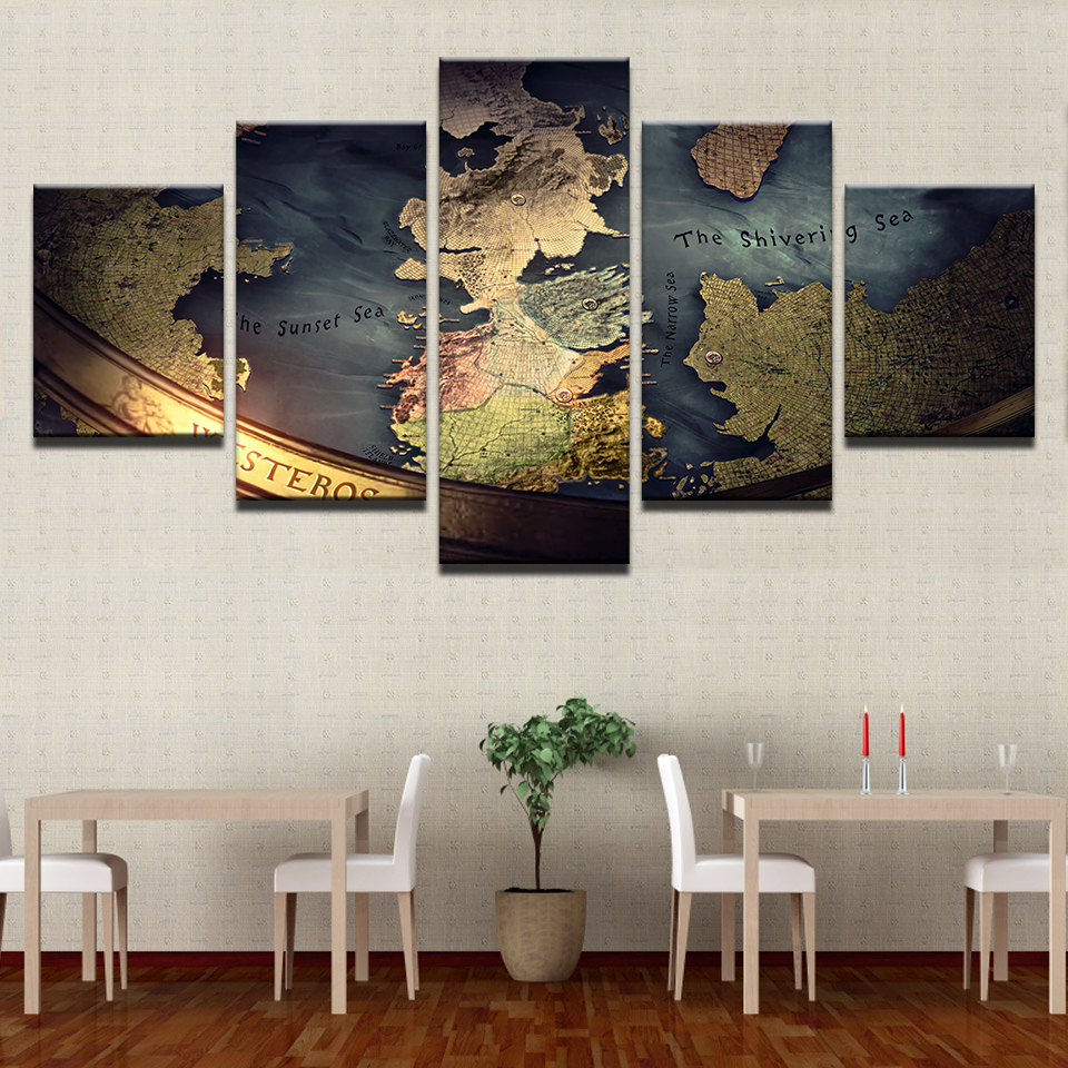 Modular Home Decor Canvas Pictures HD Prints Posters 5 Pieces Game Of Thrones Map Paintings For Living Room Wall Art Framework