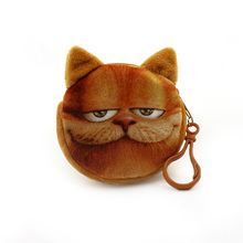2016 new bag accessories coin purses wallet ladies 3D printing cats dogs animal big face change fashion cute small zipper bag