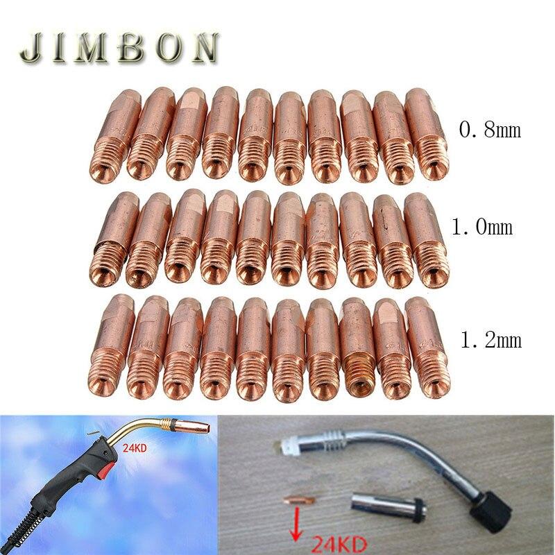 10 шт./лот MB 24KD M6 МИГ/МАГ сварки факел свяжитесь с Совет сопло 0,8/1,0/1,2 мм M6 * 27 мм