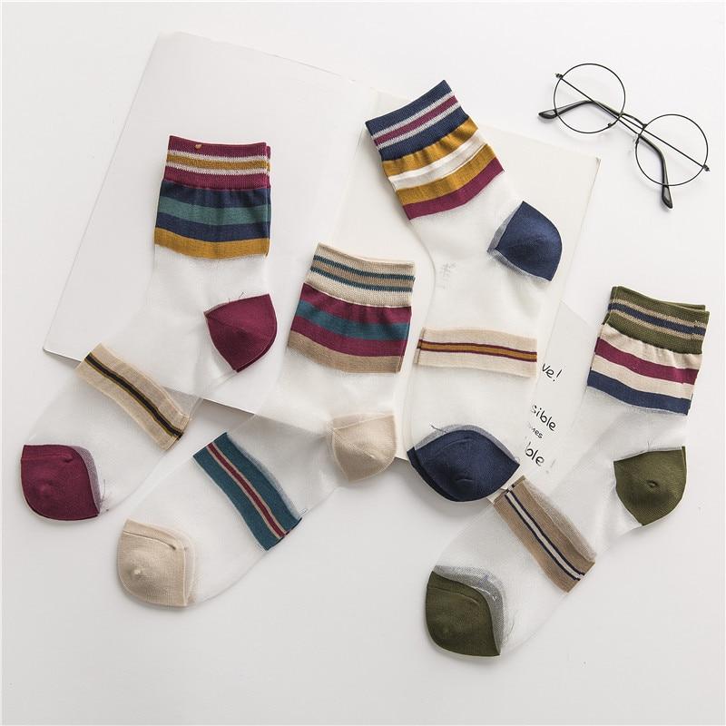 HUI GUAN Japanese Breathable Transparent Ultra-thin Fashion Women   Socks   Colorful Striped   Socks   Women Original Soft Cute   Socks