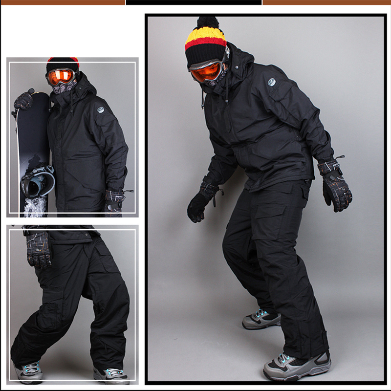 Premium Edition Southplay Winter 10,000 mm Waterproof Skiing Snowboard (Jacket + Pants)Black Suit Sets